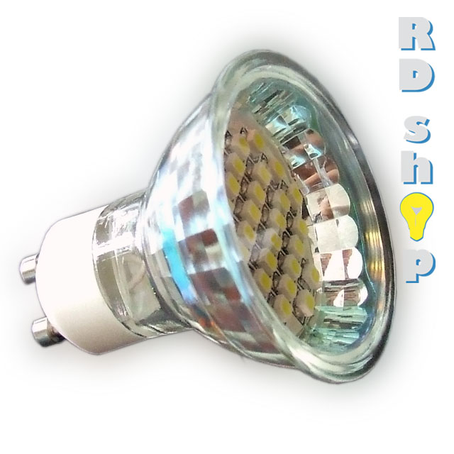LED žárovka GU10 SMD 30 3528 230V 1,5W teplá bílá