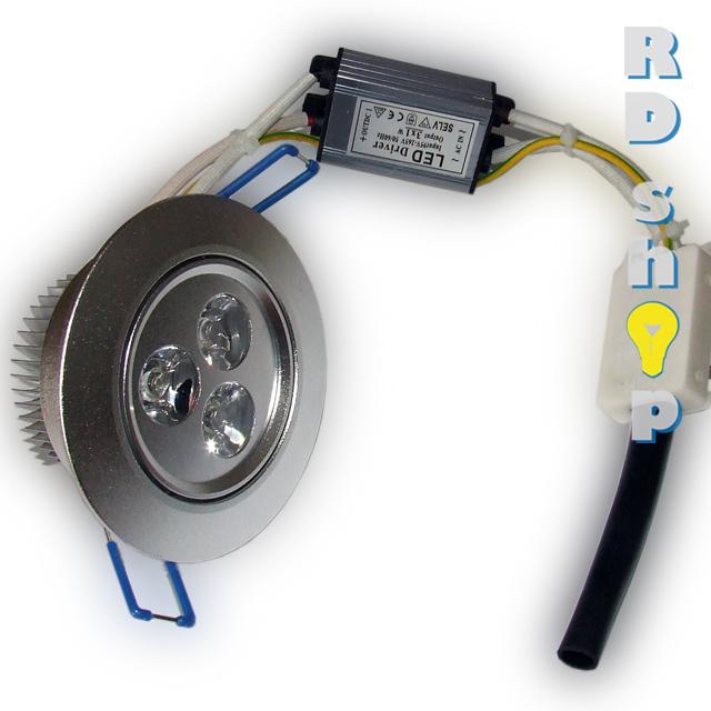 LED bodovka stropní SMD 230V 3W studená bílá