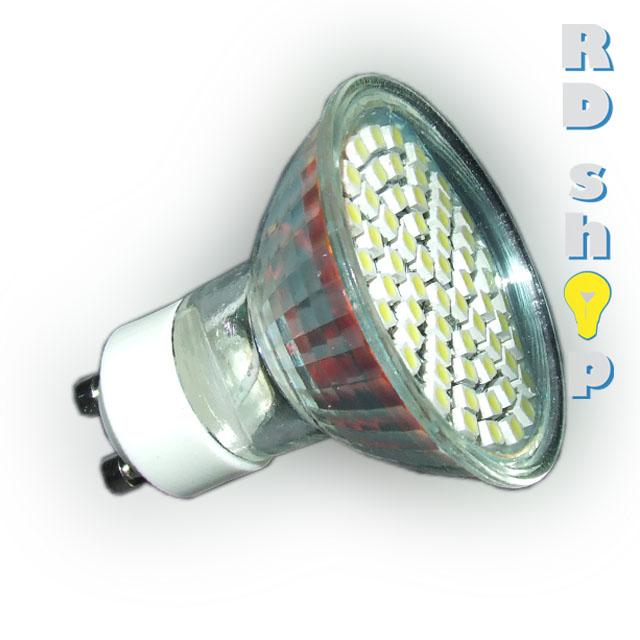 LED žárovka GU10 SMD 60 3528 230V 3W studená bílá