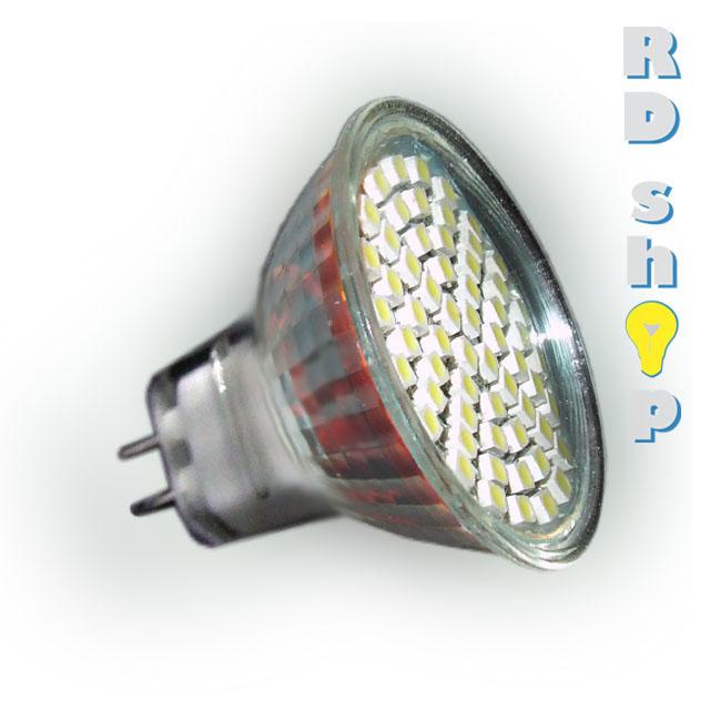 LED žárovka MR16 SMD 60 3528 12V 3W studená bílá A2