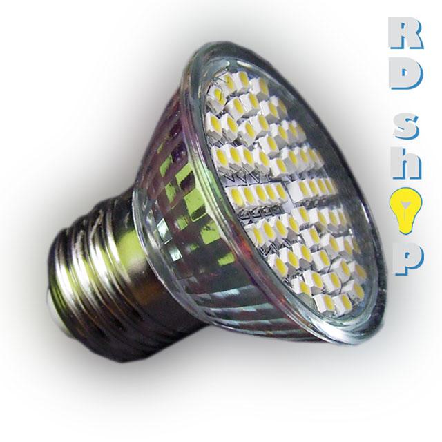 LED žárovka E27 SMD 60 3528 30V 3W teplá bílá