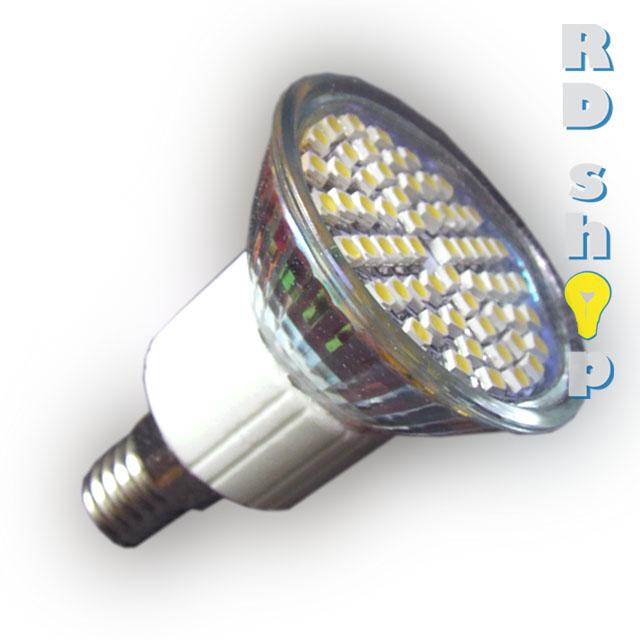 LED žárovka E27 SMD 60 3528 230V 3W studená bílá A1