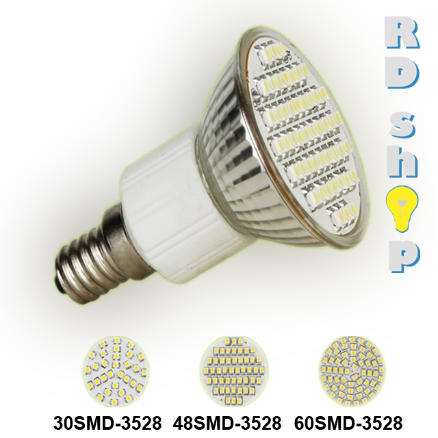 LED žárovka E27 SMD 60 3528 230V 3W studená bílá