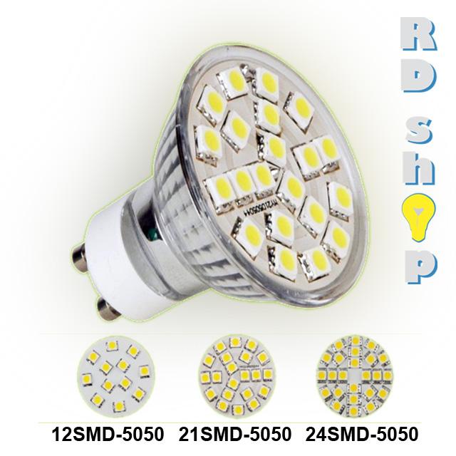 LED žárovka GU10 SMD 21 5050 230V 3W studená bílá