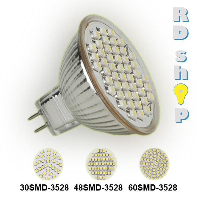 LED žárovka MR16 SMD 48 3528 12V 2,4W teplá bílá